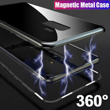 For Samsung Galaxy S9 S8 Plus Magnetic Adsorption Metal Bumper Glass Case Cover