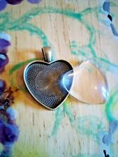 Antique Bronze Heart-Shaped Picture Locket/Pendant with Cabochon