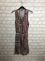 RIVER ISLAND LADIES DRESS SIZE 10 SUMMER HOLIDAY MULTICOLOURED PINK BOHO CHIC