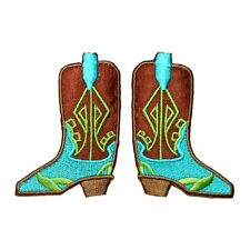 eb8b98a8f5a ID 9072AB Set of 2 Fancy Cowboy Boot Patch Western Embroidered Iron On  Applique