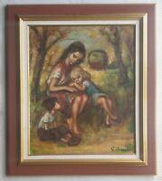 GEORGETTE NIVERT original signed oil painting Family - Marie Laurencin interest