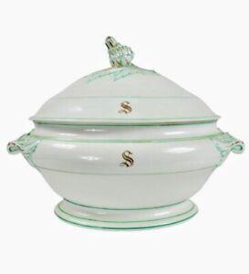 19th C. Antique Porcelain Large Soup Tureen Gold Paris Artichoke Finial Monogram