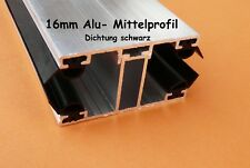 Alu - Komplett - Verlegeprofil 16mm für Stegplatten Mittelprofil incl. Dichtung
