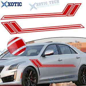 2Pcs 67-inch Side Body Door Red Stripes Sticker For Cadillac Escalade CTS 2000+