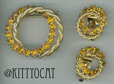 Birthstone Citrine Glass Rhinestone Double Circle Pin and Clip-on Earrings Set