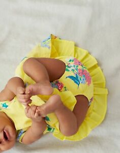 Joules Baby Girls Bunty Woven Dress  - Yellow Floral - 9M-12M