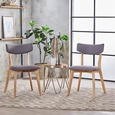 Caleb Mid Century Fabric Dining Chairs With Natural Oak Finish(set of 2)