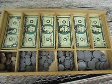 Melissa & Doug Play Money Cash Drawer Partial Paper Money Coins