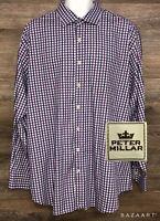 Peter Millar Men's Purple Black Plaid Long Sleeve Button Front Modern Shirt XL