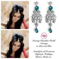 INDIAN Bollywood Lampadario di Cristallo d'Argento Dangle Orecchini Da Sposa Argento Blu S