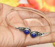 Bracelet 925 Silver Overlay U287-A173 Blue Onyx Gemstone Adjustable Cuff Bangle