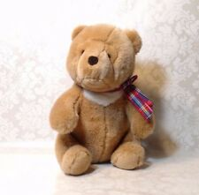 Vintage Gund Brown White Chest Teddy Bear with Plaid Bow