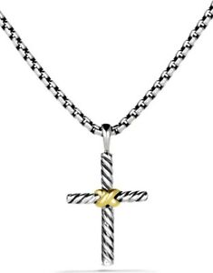 DAVID YURMAN Petite X Cross Sterling Silver Necklace With 14K Gold 16 IN NWOT