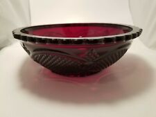 """Vintage Avon Cape Cod Ruby Red Collection Serving Bowl, 8.5"""" across"""
