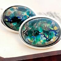 Vintage CZECH Blue Green Glass Fire Opal - Oval Silver Plated Cufflinks #1