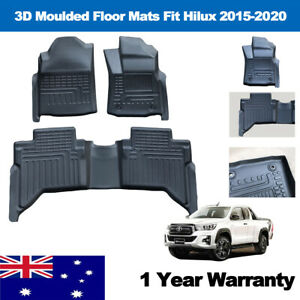 Floor Liners for Toyota Hilux Auto 2015-2020 3D All Weather Car Mats 3pcs TPE