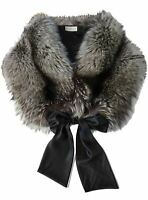 POLOGEORGIS Silver Fox Ribbon Tie Scarf Wrap One Size