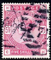 QV 1884 5/- Crimson SG181 Letters CH Good Used