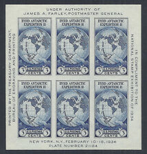US National Stamp Expo Sheet - James A. Farley, Byrd Expedition 735 MNH - 1934*