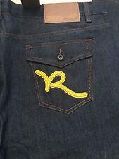 New Rocawear Jeans Dark Wash Classic Fit Yellow Script Flap Pocket 48x34