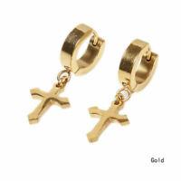 MENS LADIES GOLD  STAINLESS STEEL 316 L HUGGIE HOOP PENDANT CROSS EARRINGS UK