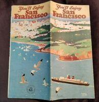 1930's Travel Tourist Brochure San Francisco Market St Chinatown Harbor Pool