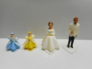 Vintage - Bride and Groom Plastic Wedding Cake Toppers - Made in HONG KONG