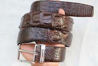 Dark Brown Genuine  Alligator, Crocodile Leather Skin Men's Belt #TGN0104