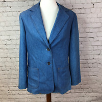 Vintage Soft Denim Blazer Jacket Women's Size 14 Unionmade 2 Button Blue