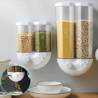 Kitchen Double Wall Mounted Cereal Dispenser Dry Food Storage Container