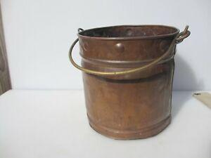 Victorian Copper Log Basket Coal Bucket Planter Tub Plant Pot Antique Old Rivets