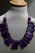 Dog Tooth Beads Handmade Ethical Fair Trade Tagua Nut Necklace Purple