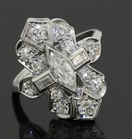 Antique Platinum 1.72CTW VS diamond cluster filigree cocktail ring w/ .50CT ctr.
