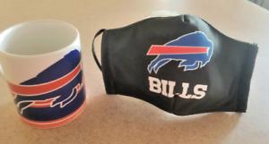 NFL Buffalo Bills 11 oz coffee mug &Facial Mask/ Tasa y Cubreboca de los BBills