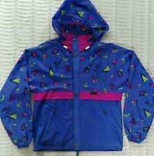 Vintage K-Way Windbreaker Jacket Size S 7 Blue Neon Yellow Pink Geometric Print