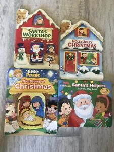 Lot 4 CHRISTMAS Santa Little People Baby Toddler Board Books