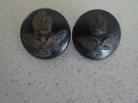 WW2 RAAF UNIFORM BUTTONS  ROYAL AUSTRALIAN AIR FORCE BLACK BAKELITE X2