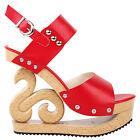 Black/Red/White Stud Wedge Platform Slingback EVE Clogs Sandals Size 4/5/6/7/8/9
