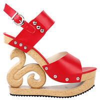 Black/Red/White Stud Wedge Platform Slingback EVE Clogs Sandals Size 4/5/6/7/8/9