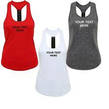 Ladies Personalised Gym Running Vest Gym Tank Top Custom Printed Workout Tri Dri
