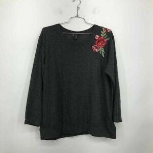 Torrid Womens Pullover Sweatshirt Gray Heathered Floral Applique Stretch Plus 2X