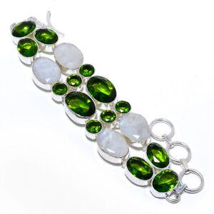 "Rainbow Moonstone & Peridot 925 Sterling Silver Bracelet Jewelry 7-8"" UB596-11"