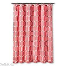 "Threshold Shower Curtain Coral and White Geo Print    72"" x 72"""