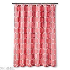 "Threshold Shower Curtain Coral and White Geo Print    72"" x 72"""