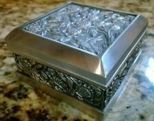 Royal Selangor Pewter Trinket Jewelry Floral Engraved Design Box Holder Keepsake