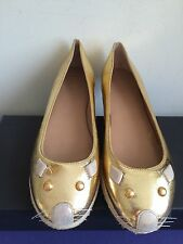 NIB $248 Marc by Marc Jacobs Mouse Crackled Metallic Leather Flats Gold Size 6