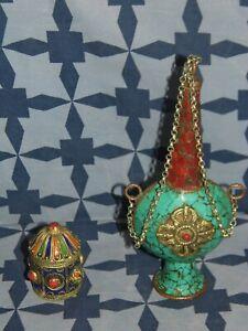 FIOLE FLACON A KHOL + BOITE Afrique Maghreb art déco collection vintage  BE