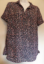 Marks & Spencer UK12 EU40 US8 black/pink-mix short-sleeved collared top