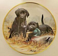 Franklin Mint Beginners Luck Lab Labrador Retriever Puppies Duck Hunting Plate