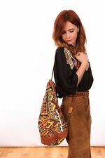 Vintage aztec draw string slouch back pack shoulder bag boho hippy festival wear